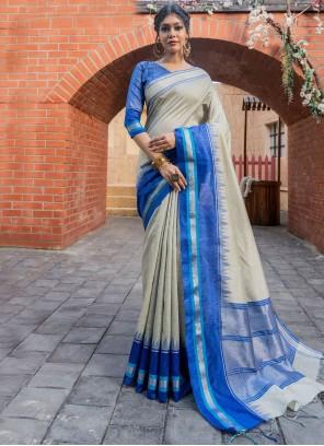 Fancy Blue and Cream Raw Silk Traditional Designer Saree