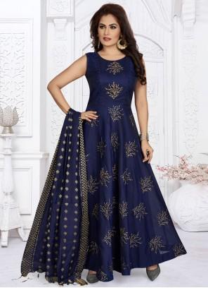 Fancy Blue Art Silk Readymade Suit
