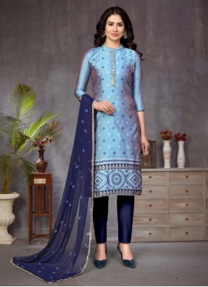 Fancy Blue Banarasi Silk Churidar Suit