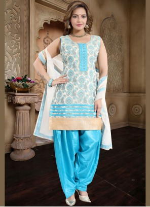 Fancy Blue Banglori Silk Readymade Suit