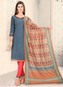 Fancy Blue Chanderi Churidar Designer Suit