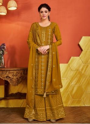 Mustard Fancy Ceremonial Designer Palazzo Salwar Suit