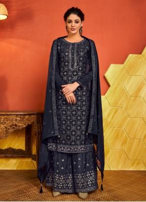 Blue Fancy Ceremonial Designer Palazzo Suit