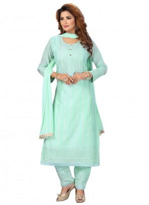 Fancy Chanderi Blue Readymade Suit