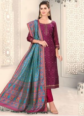 Fancy Chanderi Churidar Designer Suit in Wine