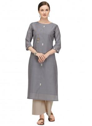 Fancy Chanderi Designer Kurti in Grey