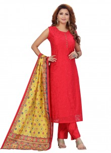Fancy Red Chanderi Pant Style Suit