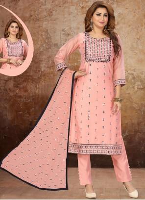 Fancy Chanderi Pink Pant Style Suit