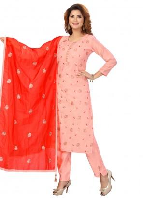 Pink Fancy Chanderi Readymade Suit