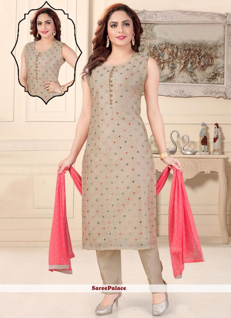 Beige Fancy Chanderi Readymade Suit
