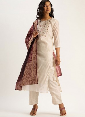 Fancy Chanderi Readymade Suit in Off White