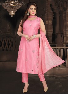 Fancy Chanderi Readymade Suit in Pink
