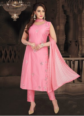 Fancy Chanderi Readymade Suit in Pink
