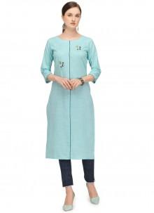 Fancy Cotton Blue Designer Kurti