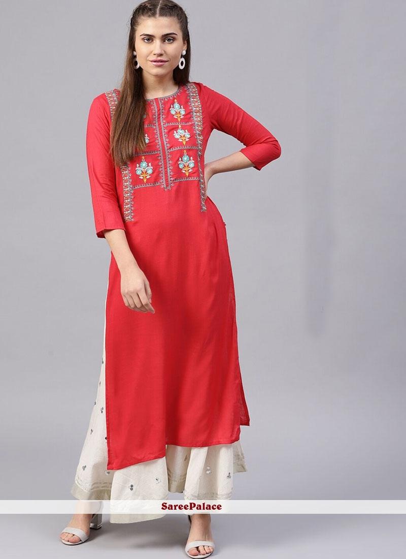 831554480d Buy Red Fancy Cotton Casual Kurti Online