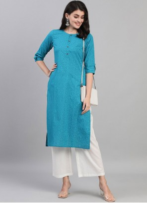 Blue Fancy Cotton Designer Kurti