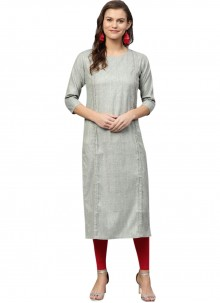 Grey Fancy Cotton Party Wear Kurti