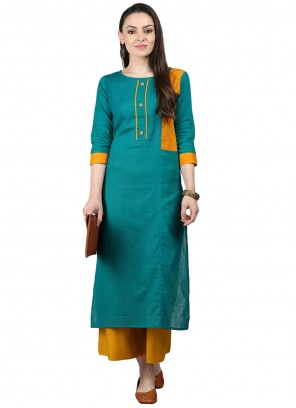 Fancy Cotton Party Wear Kurti in Turquoise