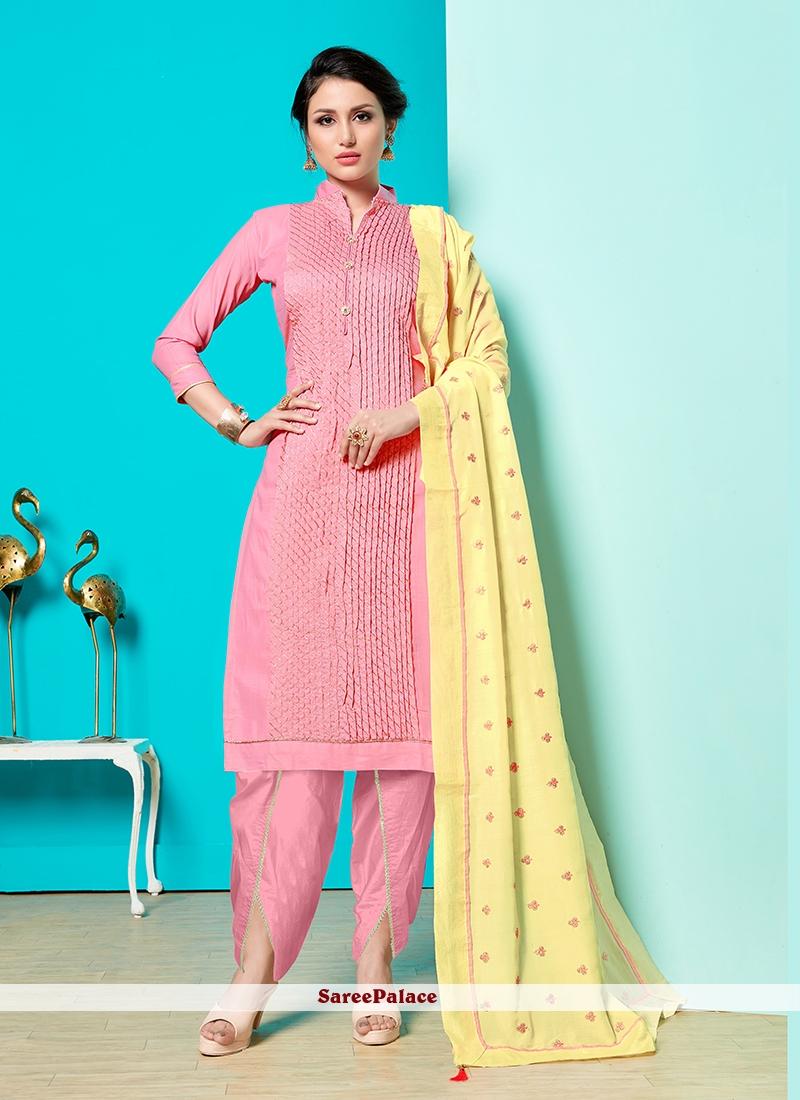 Fancy Cotton Pink Designer Suit
