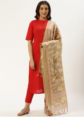 Fancy Cotton Readymade Suit in Red