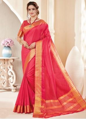 Fancy Cotton Silk Pink Classic Saree