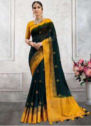 Fancy Cotton Teal Designer Saree