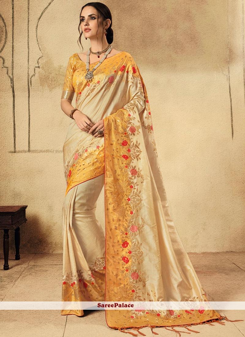Fancy Cream and Orange Classic Designer Saree