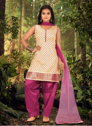 Fancy Cream and Wine Banarasi Silk Designer Patiala Suit