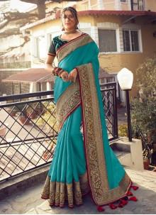 Fancy Designer Blue Traditional Saree