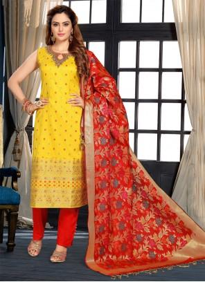 Yellow Fancy Engagement Designer Suit