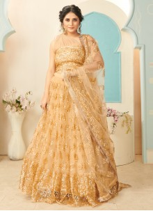Gold Fancy Engagement Lehenga Choli