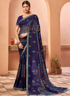 Fancy Fabric Abstract Print Blue Saree