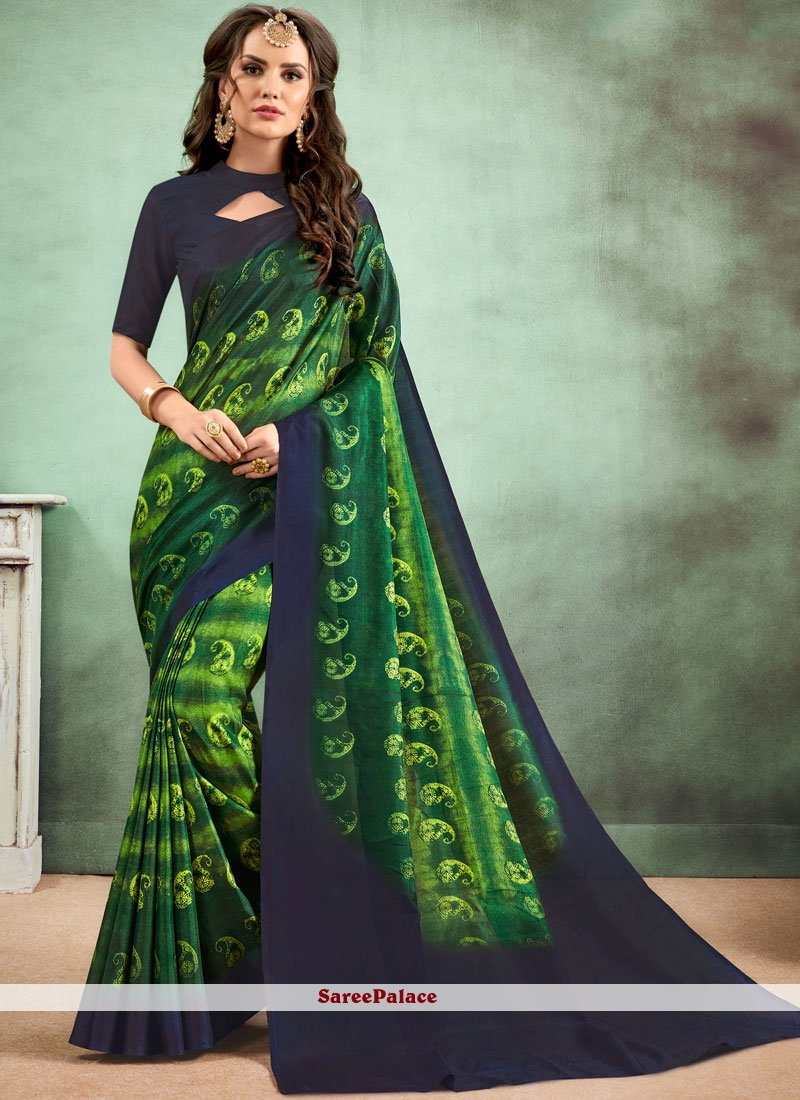 Fancy Fabric Abstract Print Casual Saree in Multi Colour