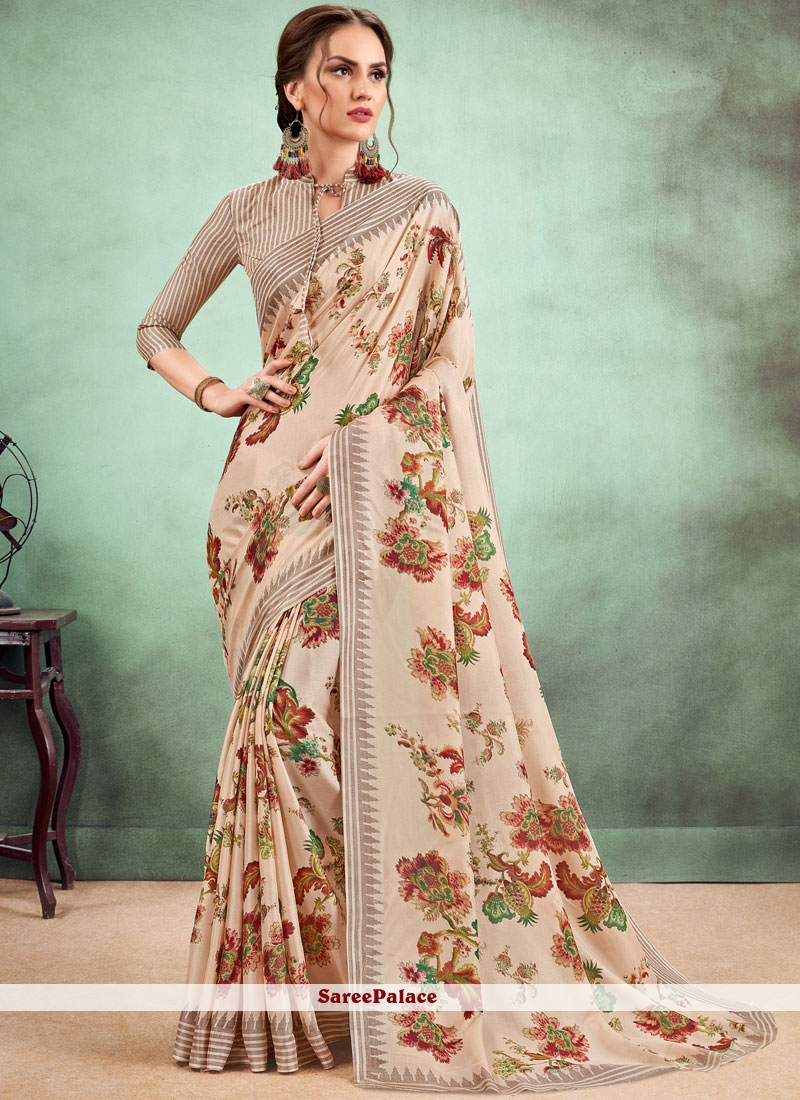 Fancy Fabric Abstract Print Multi Colour Casual Saree