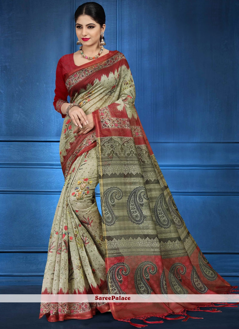 Fancy Fabric Abstract Print Multi Colour Printed Saree