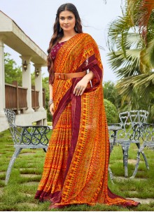 Fancy Fabric Abstract Print Multi Colour Saree