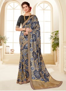 Fancy Fabric Abstract Print Printed Saree in Multi Colour