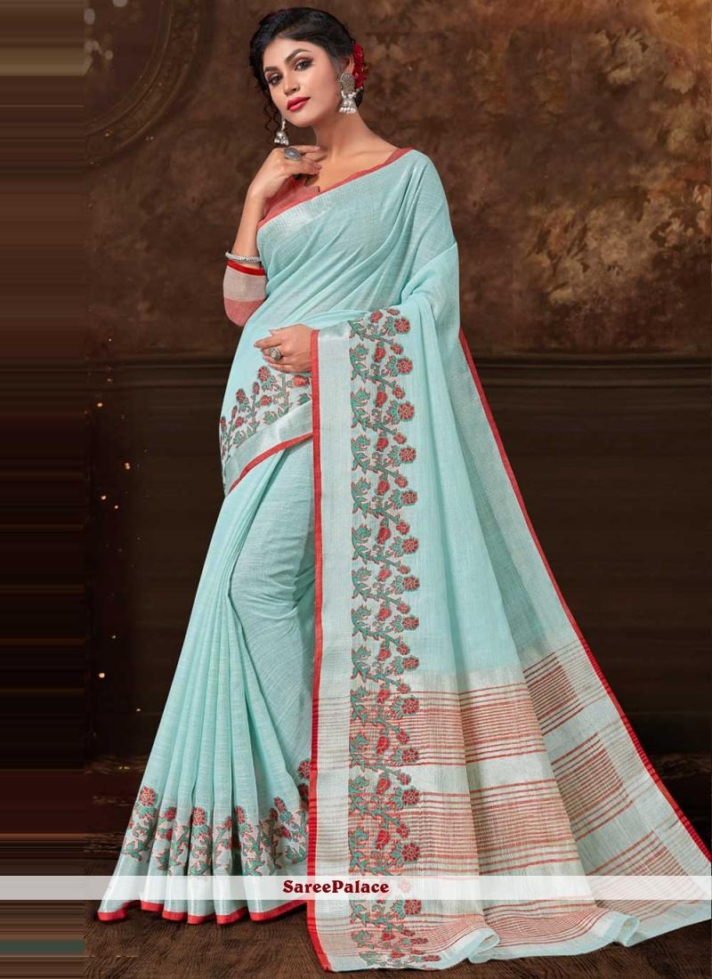 Fancy Fabric Aqua Blue Contemporary Saree