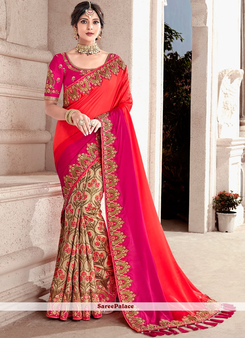 Fancy Fabric Beige, Magenta and Orange Half N Half Trendy Saree