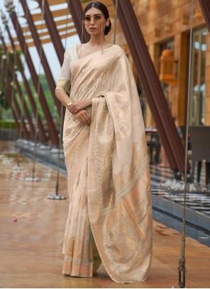 Fancy Fabric Beige Sequins Designer Traditional Saree