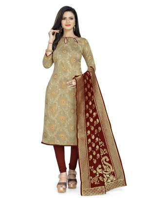 Fancy Fabric Beige Weaving Churidar Suit