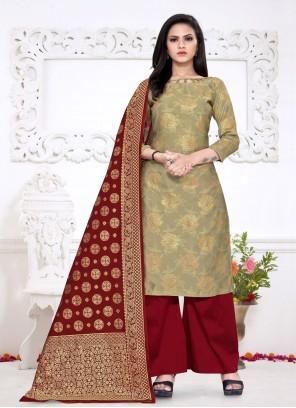 Fancy Fabric Beige Weaving Palazzo Salwar Suit