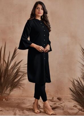 Fancy Fabric Black Buttons Party Wear Kurti