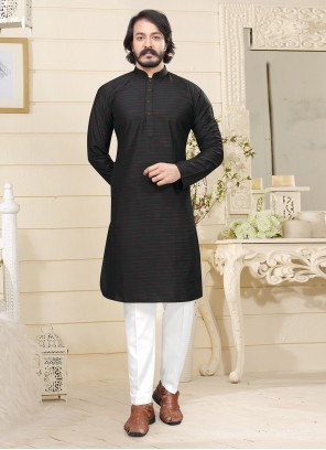 Fancy Fabric Black Kurta Pyjama