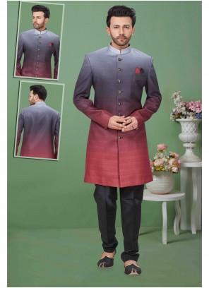 Fancy Fabric Black Plain Sherwani