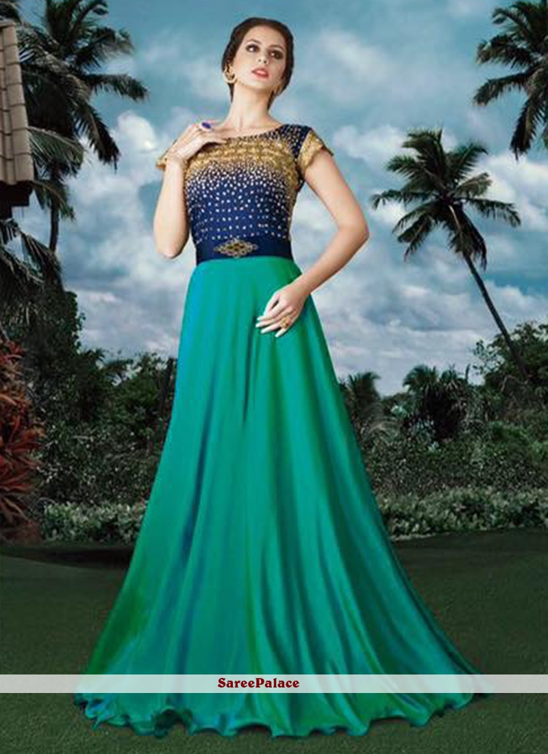 Fancy Fabric Blue and Green Embroidered Work Designer Gown