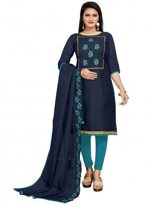 Fancy Fabric Blue Churidar Salwar Suit