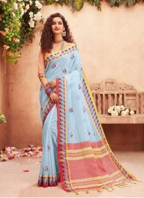Fancy Fabric Blue Classic Designer Saree