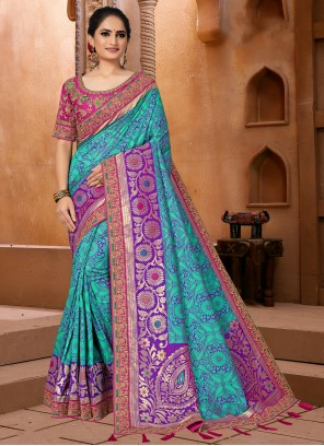Fancy Fabric Blue Embroidered Classic Saree