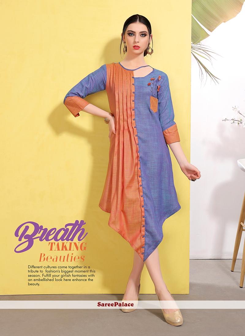 ff2e01d46 Buy Fancy Fabric Blue Fancy Party Wear Kurti Online